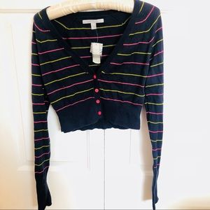 NWT Old navy navy blue pin stripe crop cardigan